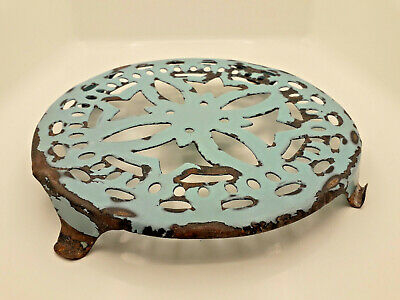 Antique coaster metal enamelled turquoise french antique