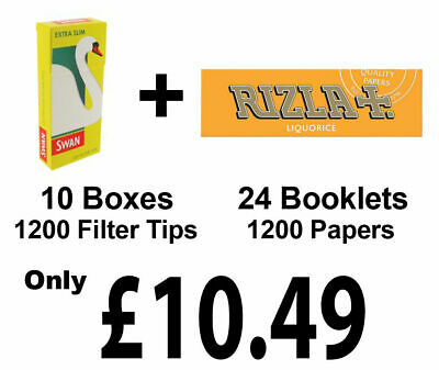 1200 Rizla Liquorice Cigarette Rolling Papers + Swan Extra Slim Filter Tips