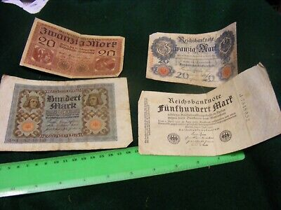 Germany...Lot of 4 Good Used Banknotes , 1908,1918,1920,1923..