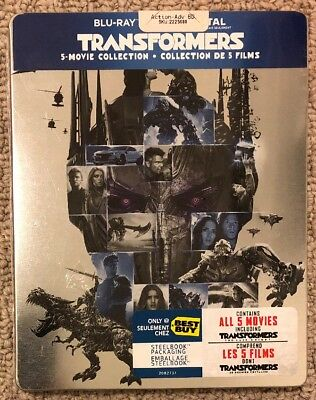 Transformers 5-Movie Collection Steelbook (Blu-ray + Digital) Region Free