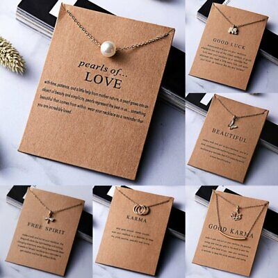 Womens Charms Necklace Pendant Gold Clavicle Chains Choker Card Jewellery Gifts