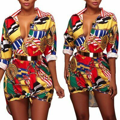 UK Women African Print Dashiki Boho Hippie Gypsy Blouse Short Mini Dress Shirt
