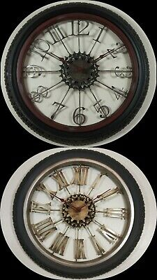 large diy wall clock bicycle tyre antique style retro home decor 40cm no glass