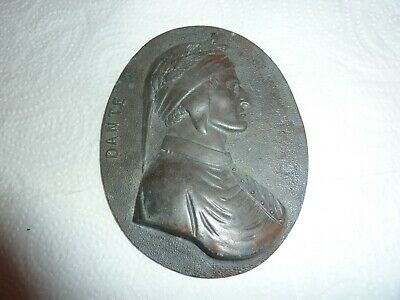 19Thcent 11.6Cm By 9Cm Oval Spelter Plaque With Relief Image Of Dante Head/chest
