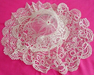 Vintage / Victorian White Hand Made Needle Lace and Bobbin Lace Head-dress