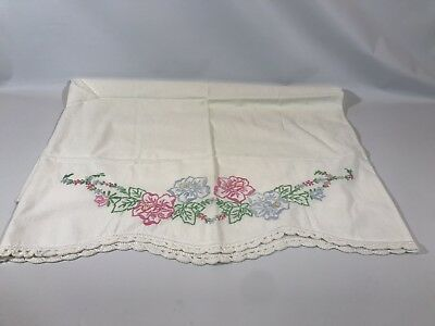 Vintage off White Cotton Pillow Case Embroidered with Crocheted Lace