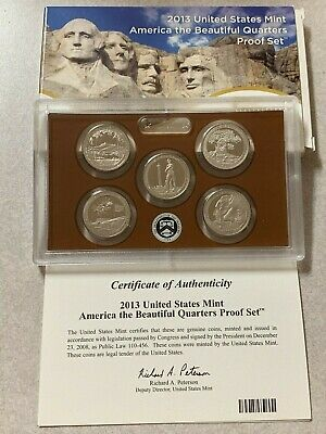 2013 S US Mint America The Beautiful Quarters 5 Coin Proof Set With Box & COA