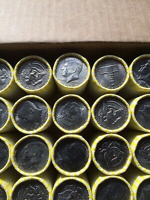 One Unsearched Bank Sealed Half Dollar Roll - With A 1967 40% Silver Half On End