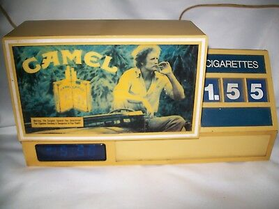 VINTAGE CAMEL CIGARETTE Advertising Display & Clock Lights Up Price Changes