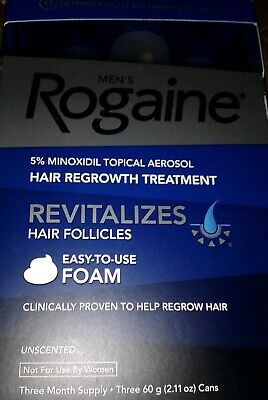 Rogaine Hair Regrowth Men 5% Minoxidil Topical Foam 3 month supply exp 10/2020