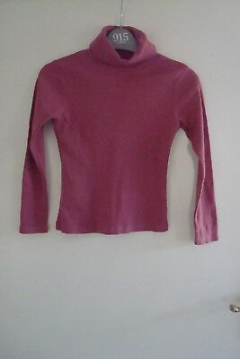 Girls Dark Pink Polo Neck Ribbed Jumper - Size 7 Years
