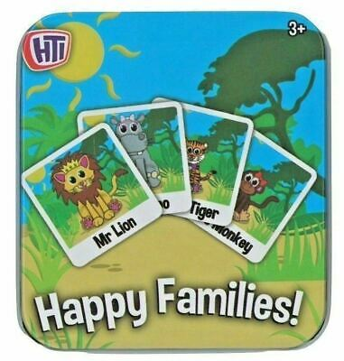 Happy Families Snap Card pairs Animal Traditional Children's Playing Cards TIN