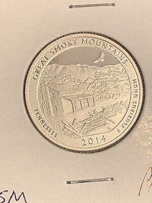 """2014 S Silver Great Smokey Mountains """"ATB"""" Proof Quarter *Free Shipping*"""