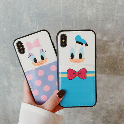 Cute Disney Donald Daisy duck Card Pocket Case Cover for iPhone X XS Max XR 7 8+