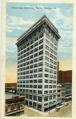 Praetorian Building Dallas TX 1924 Color Linen Postcard sent by Carmical Family