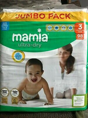 Mamia size 3 midi ultra dry 98 pack nappies