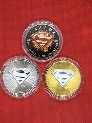 2016 1 Oz Canadian Silver Superman 3 Coins .9999 lot of 3. 3oz Silver