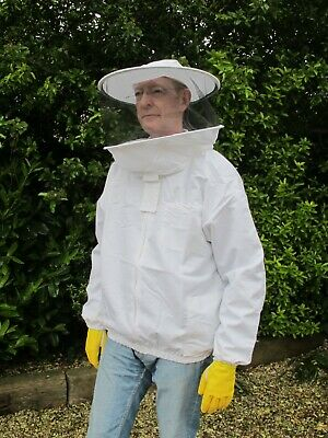 PREMIUM QUALITY Bee Jacket, Round Hat Veil - White. All Sizes