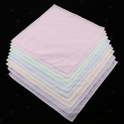 10x Men Women 100% Cotton Handkerchiefs Hanky Party Wedding Colorful Hankies