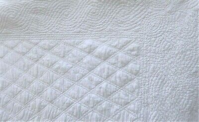 "Antique French Hand Quilted Wedding White Provence Quilt 54 x 66"" 137 x 167.5 cm"