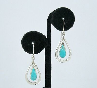 64568fa55 STERLING SILVER 925 Turquoise Drop Dangle Earrings Signed SX ...