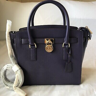 026a7fc7db31 NWT NEW Michael Kors Hamilton EW Large Leather Satchel Iris Color New With  Tag
