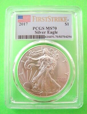 2017 AMERICAN SILVER EAGLE PCGS MS70 - FIRST STRIKE - FLAG LABEL 1oz Silver MINT