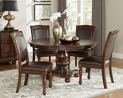 Bellagio Round Formal Dining Set Leather Like Fabric Chairs