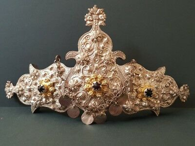 ANTIQUE PERFECT Ottoman forged engraved crown design silver alloy belt buckle