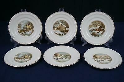 Harkerware Currier & Ives The Homestead In Winter Bread Plates - Set Of 6