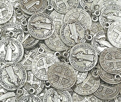 2f4b734411b Lot Bulk 25 Silver Tone San Benito/St Benedict Medals-Blessed by Pope on