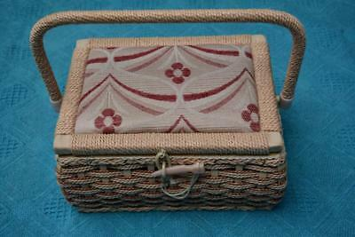 VINTAGE Sewing BOX - CADDY - STORAGE. Medium Size Woven Box with Fabric TopNEW.