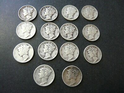Lot of 14 USA 1940's  Mercury Silver Dimes - Great Condition - 90% Silver Coins