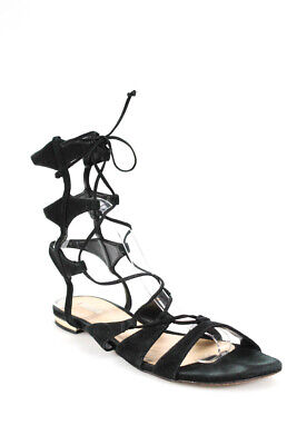 f30adf3188be SCHUTZ WOMENS LACE Up High Wedge Strappy Sandals Black Suede Size 41 ...