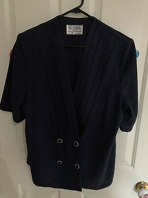Vintage 1980s Navy Nautical Womens Blazer Dolina SIZE 14