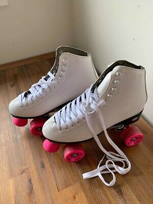 Roller Derby White Pink Quad Roller Skates Size 9 - Riedell Brand - Like NEW
