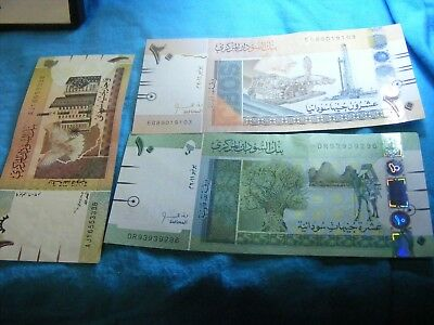 Lot of 3 Sudan Unused banknotes,....1,10, & 20 Sudanese Pounds.