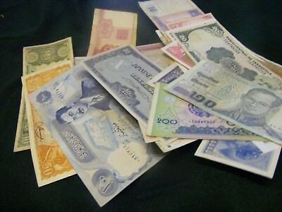 Lot of 31  World Banknotes, used (few unused), less common types,WWII etc..