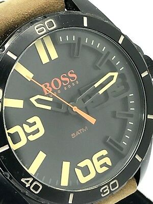 Hugo Boss Mens Watch Black Dial Stainless Steel Case Quartz Brown Leather Strap