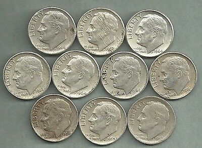 Roosevelt Dimes - US 90% Silver Coin Lot - 10 Circulated Coins #3084