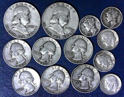 "Lot: $3.00 Face Value 90%  US Silver Coins, ""Junk Silver"", pre-1965 - No Reserve"