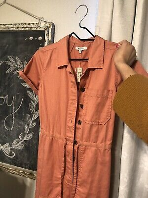 fd8557d5278 NEW WOMENS MADEWELL Wide-Leg Utility Jumpsuit Coveralls Desert Olive ...