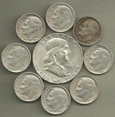 Franklin Half Dollar & Roosevelt Dimes- 90% Silver- US Coin Lot - 9 Coins #3925