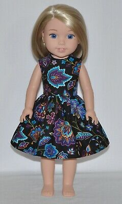 Floral Black Doll Dress Clothes Fits American Girl Wellie Wisher Dolls
