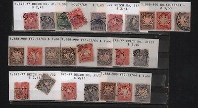 Germany Reich 1875-1902 Lot X 47 Coat Of Arms Eagle Crown Quuen Cancelled