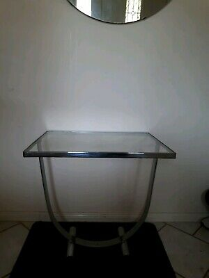 Art DECO Glass Top Chrome Side Table