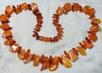Vintage Russian Genuine Honey Color Baltic Amber Necklace  O3