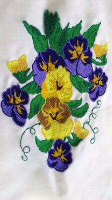 hand made embroidery piece linen picture or pillow front pansies finished