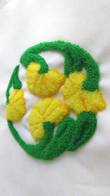 hand made crewel embroidery piece on linen yellow & green floral circle finished