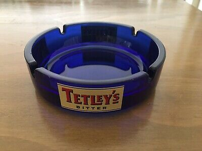 Tetley's Bitter Glass Ashtray Blue, as New Never Used